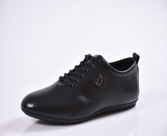 Мъжки спортно елегантни  обувки естествена кожа черни SJUD-27015