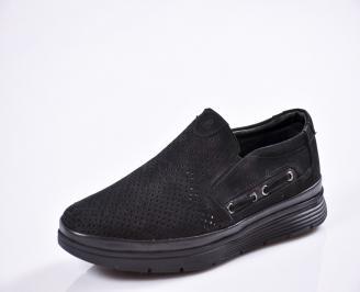 Мъжки спортно елегантни  обувки естествена кожа черни XQIT-27016