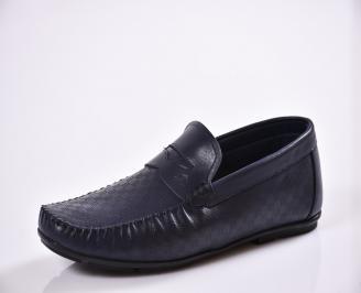 Мъжки спортно елегантни  обувки естествена кожа сини YQQI-27017