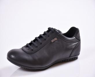 Мъжки спортно елегантни  обувки естествена кожа черни HCZB-27019