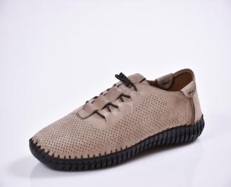 Мъжки спортно елегантни  обувки естествена кожа бежови AZVX-27020