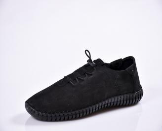 Мъжки спортно елегантни  обувки естествена кожа черни ZKOS-27021