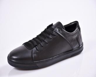 Мъжки спортно елегантни  обувки естествена кожа черни OBDS-27022