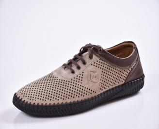 Мъжки спортно елегантни  обувки естествена кожа бежови RGDJ-27023