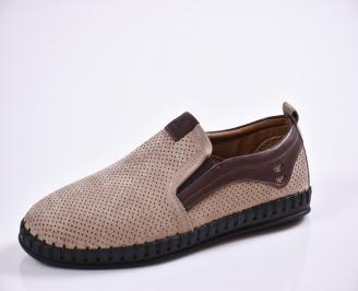 Мъжки спортно елегантни  обувки естествена кожа бежови HDUK-27024