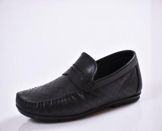 Мъжки спортно елегантни  обувки естествена кожа черни RHFW-27025