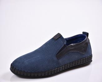 Мъжки спортно елегантни  обувки естествена кожа сини CYWB-27026