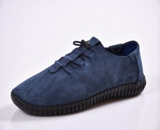 Мъжки спортно елегантни  обувки естествена кожа сини KLCF-27027
