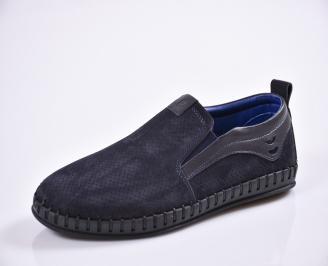 Мъжки спортно елегантни  обувки естествена кожа сини EZAC-27028