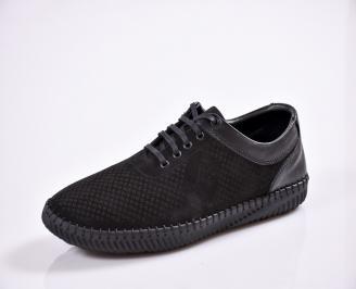 Мъжки спортно елегантни  обувки естествена кожа черни MZIG-27029