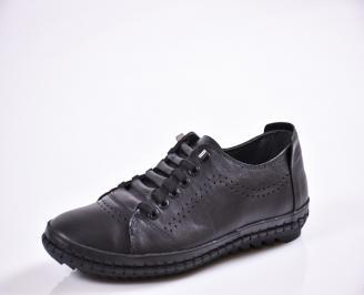 Мъжки спортно елегантни  обувки естествена кожа черни EAXP-27030