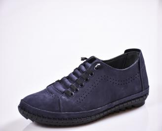 Мъжки спортно елегантни  обувки естествен набук сини BAVO-27031