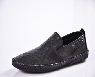 Мъжки спортно елегантни  обувки естествена кожа черни EMST-27032