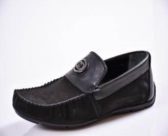 Мъжки спортно елегантни  обувки естествен набук черни FJXD-27033