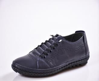 Мъжки спортно елегантни  обувки естествена кожа сини VERP-27034