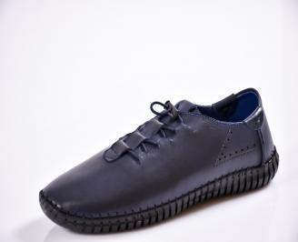 Мъжки спортно елегантни  обувки естествена кожа сини DMIN-27035