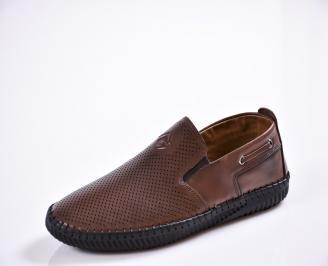 Мъжки спортно елегантни обувки естествена кожа кафяви XEIS-27036