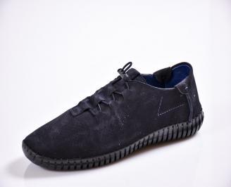Мъжки спортно елегантни  обувки естествен набук сини ZWTI-27037