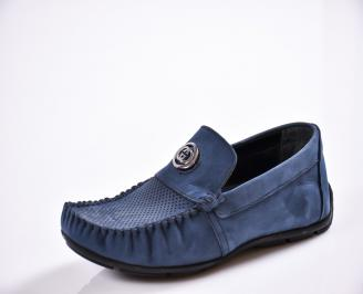 Мъжки спортно елегантни  обувки естествена кожа сини GDNG-27038