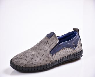 Мъжки спортно елегантни  обувки естествен набук сиви TKKN-27039