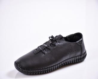 Мъжки спортно елегантни  обувки естествена кожа черни ONGC-27040