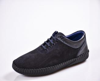 Мъжки спортно елегантни  обувки естествен набук сини YDLW-27042