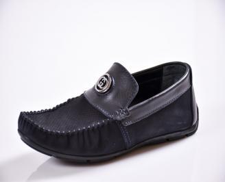 Мъжки спортно елегантни  обувки естествен набук сини SUTG-27043