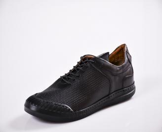 Мъжки спортно елегантни  обувки естествена кожа черни HTIA-27044