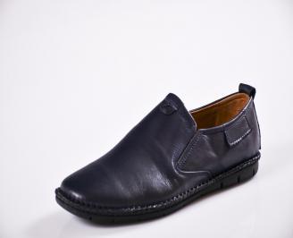 Мъжки спортно елегантни  обувки естествена кожа сини KJVD-27045