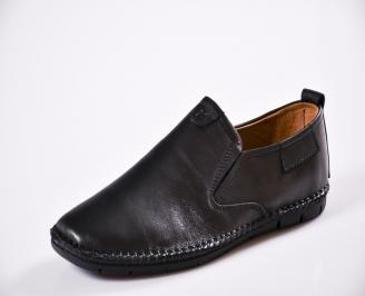 Мъжки спортно елегантни  обувки естествена кожа черни CJXN-27046