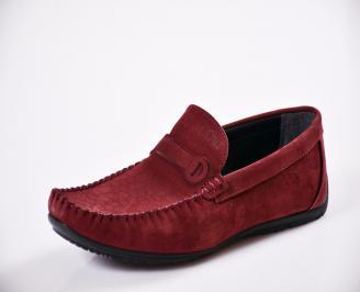 Мъжки спортно елегантни  обувки естествен набук червени EFHW-27047