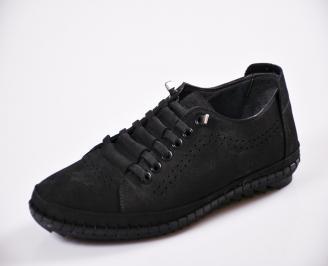 Мъжки спортно елегантни  обувки естествен набук черни UDTF-27048