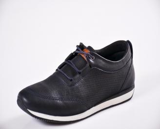Мъжки спортно елегантни  обувки естествена кожа сини EJXK-27049