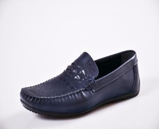 Мъжки спортно елегантни  обувки естествена кожа сини QRKL-27050