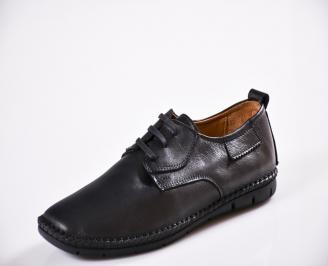 Мъжки спортно елегантни  обувки естествена кожа черни TQJE-27051