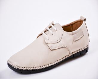 Мъжки спортно елегантни  обувки естествена кожа бежови TRAL-27052