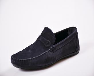 Мъжки спортно елегантни  обувки естествен набук сини WWAG-27053