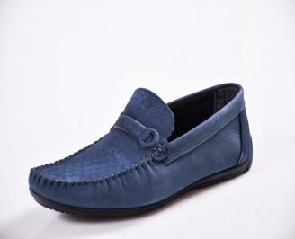 Мъжки спортно елегантни  обувки естествена кожа сини DANL-27054