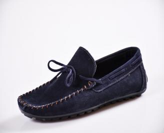 Мъжки спортно елегантни  обувки естествен велур сини JXTV-27055