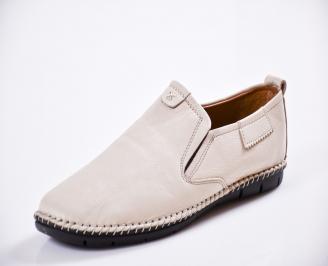 Мъжки спортно елегантни  обувки естествена кожа бежови GAEX-27056
