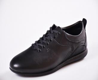 Мъжки спортно елегантни  обувки естествена кожа черни BVDQ-27057