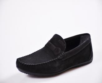 Мъжки спортно елегантни  обувки естествен набук черни ESZG-27058