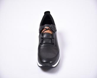 Мъжки спортно елегантни  обувки естествена кожа черни ZYFK-27059
