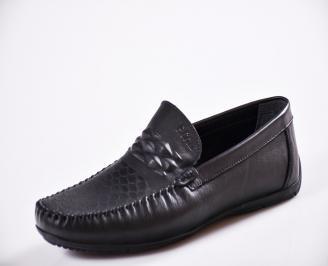 Мъжки спортно елегантни  обувки естествена кожа черни QDFK-27060