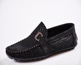 Мъжки спортно елегантни  обувки естествен набук черни AFTS-27061