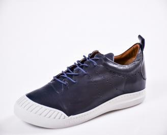 Мъжки спортно елегантни  обувки естествена кожа сини URSX-27063