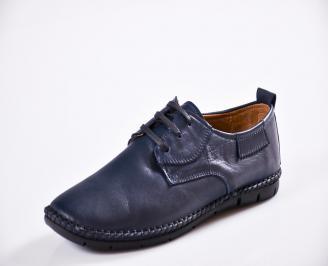 Мъжки спортно елегантни  обувки естествена кожа сини FKPD-27064