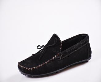 Мъжки спортно елегантни  обувки естествен набук черни NZVV-27065