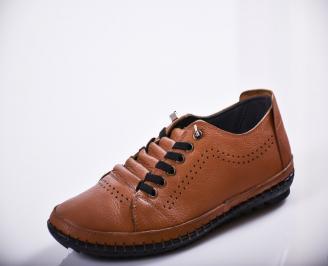 Мъжки спортно елегантни обувки естествена кожа кафяви JFKS-27116
