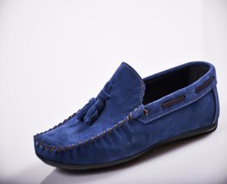 Мъжки спортно елегантни  обувки естествен велур сини ZNZW-27117